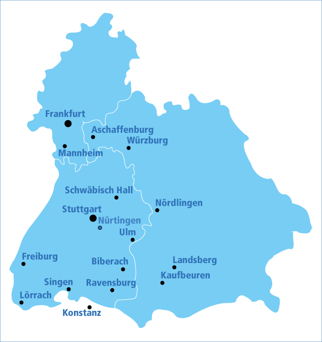Eine Karte von Baden-Württemberg mit verschiedenen Orten
