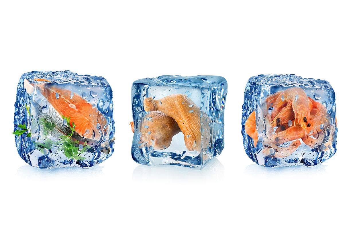 Verschiedene eingefrorene Lebensmittel in Eiswürfeln