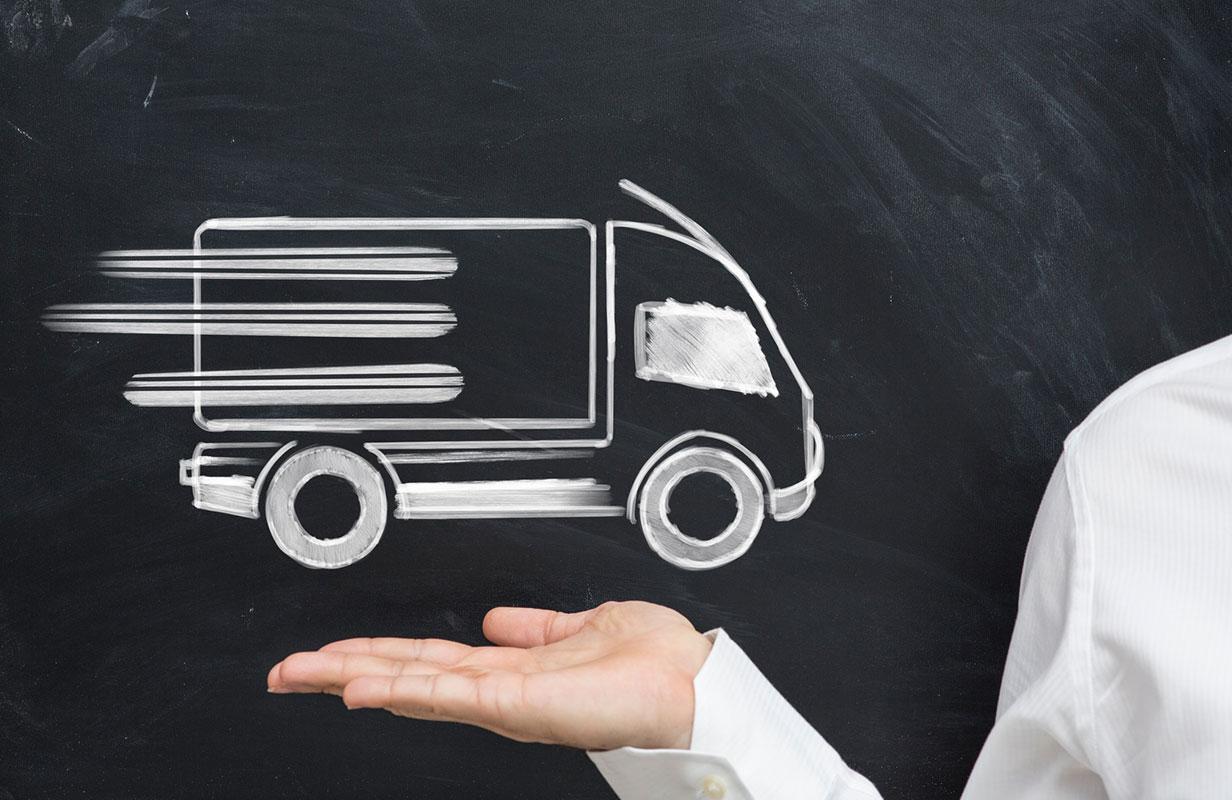 Skizze von fahrendem LKW