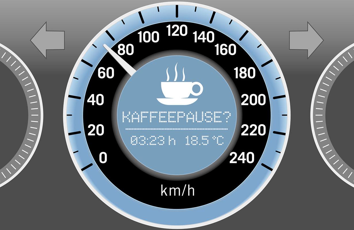 """Tachometer zeigt """"Kaffeepause?"""" an"""